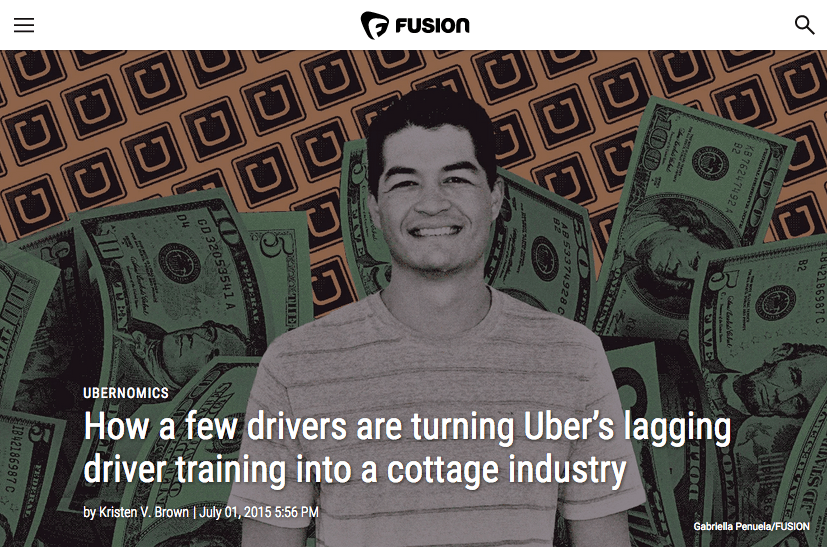 Fusion - Harry Campbell - How a few drivers are turning Uber's lagging driver training into a cottage industry