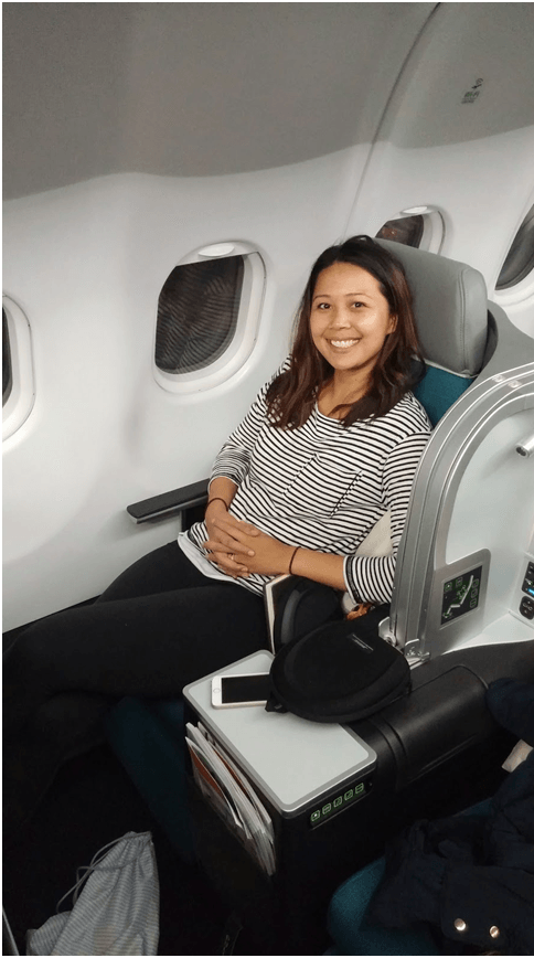 Surprised Wife in Business Class