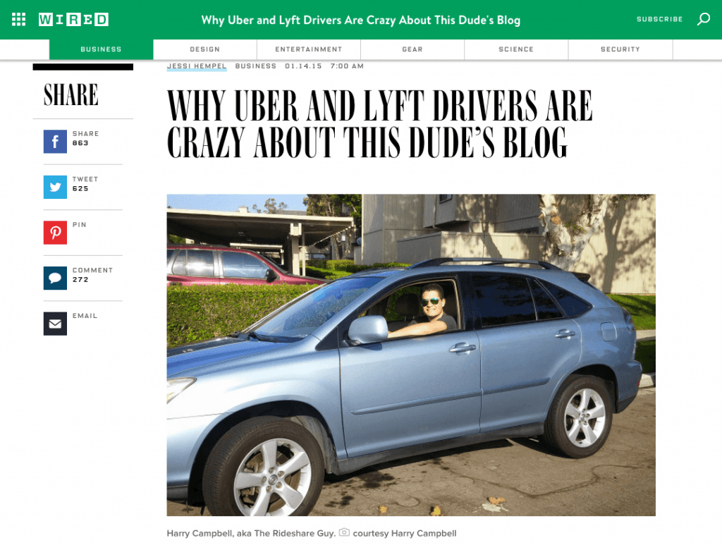 WIRED Magazine - Harry Campbell - Why Uber and Lyft Drivers Are Crazy About This Dude's Blog