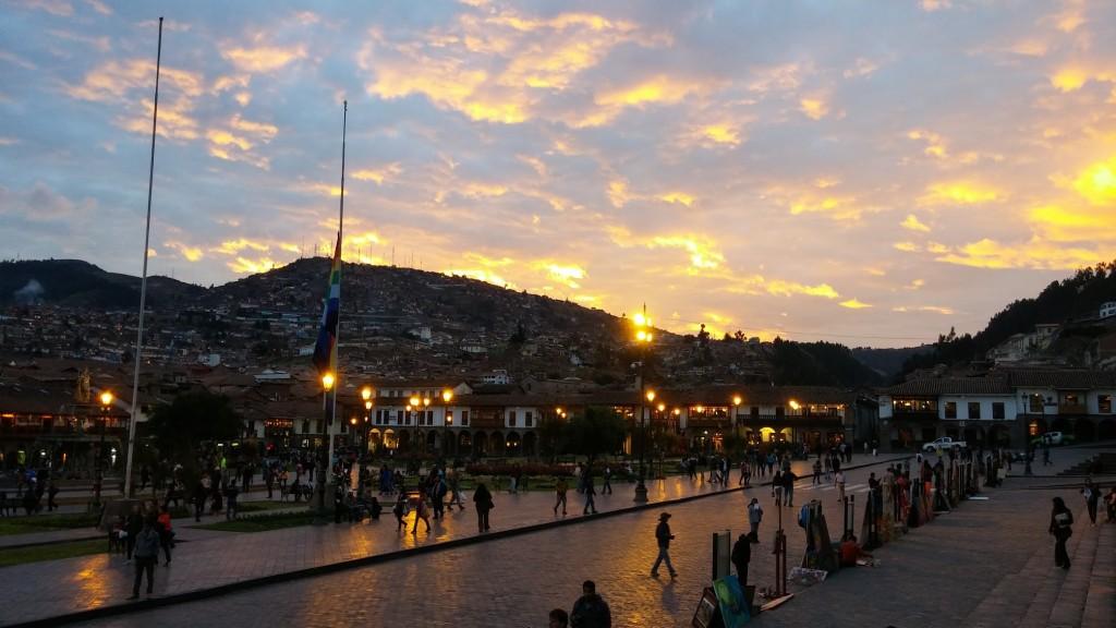 Main Plaza of Cusco at Sunset